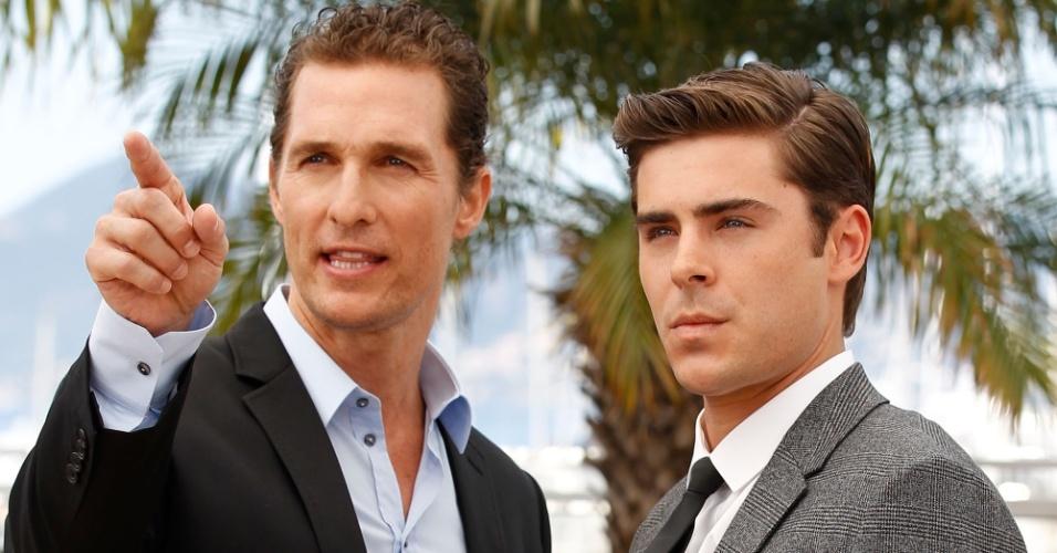 """Os atores Matthew McConaughey e Zac Efron vivem os irmãos Ward e Jack James no filme """"The Paperboy"""". Eles apresentaram o longa, previsto para estrear em novembro de 2012, no Festival de Cannes 2012 (24/5/12)"""