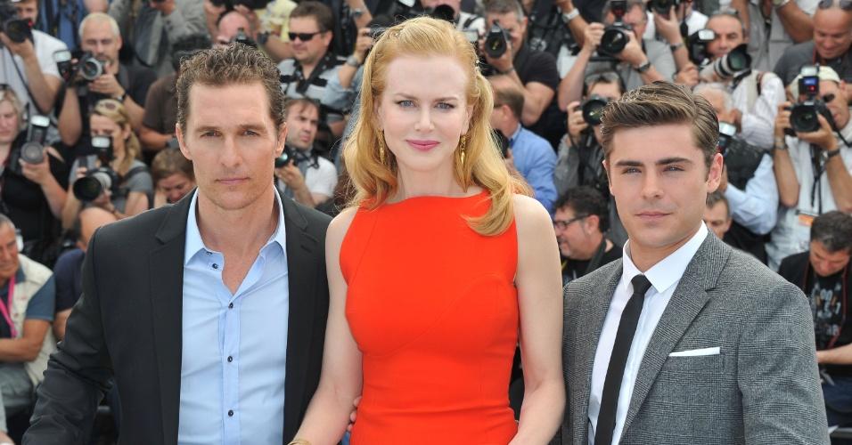 """Os atores Matthew McConaughey, Nicole Kidman e Zac Efron apresentam o filme """"The Paperboy"""", de Lee Daniels, no Festival de Cannes 2012 (24/5/12)"""