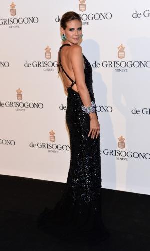 Recém-separada do cantor Seal, a modelo Heidi Klum participa da festa promovida pela joalheria Grisogono no Festival de Cannes 2012 (23/5/12)