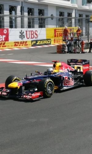 Sebastian Vettel, da Red Bull, durante o treino livre para o GP de Mônaco