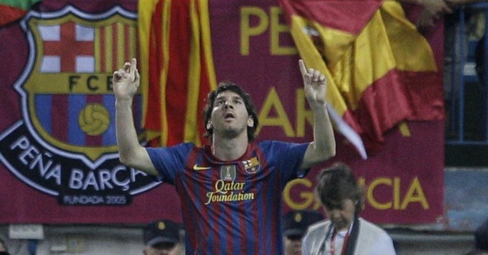 Lionel Messi comemora seu gol na final da Copa do Rei contra o Athletic Bilbao