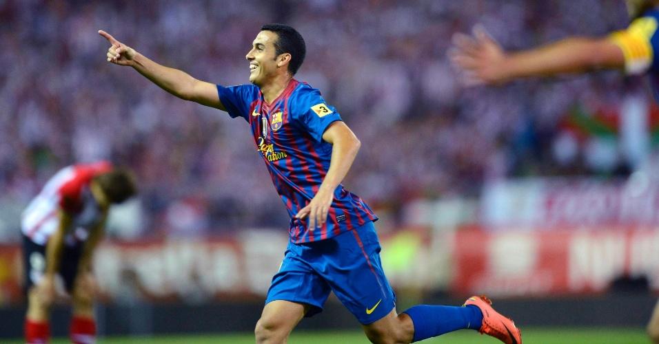 Pedro comemora seu segundo gol, o terceiro do Barcelona na decisão da Copa do Rei