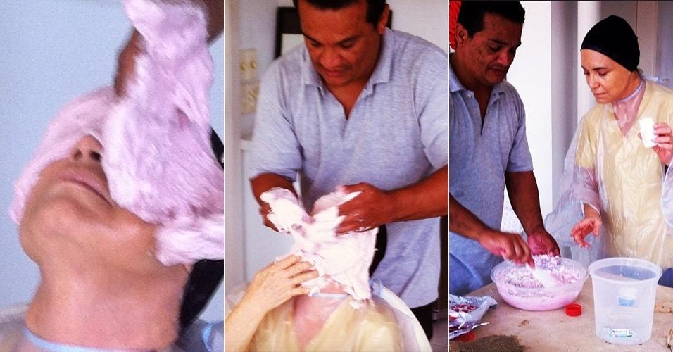 Regina Duarte faz molde de gesso de seu rosto (24/5/12)