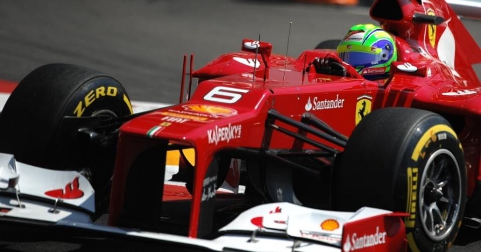 Felipe Massa durante treino deste sábado para o GP de Mônaco. Brasileiro larga na 7ª posição