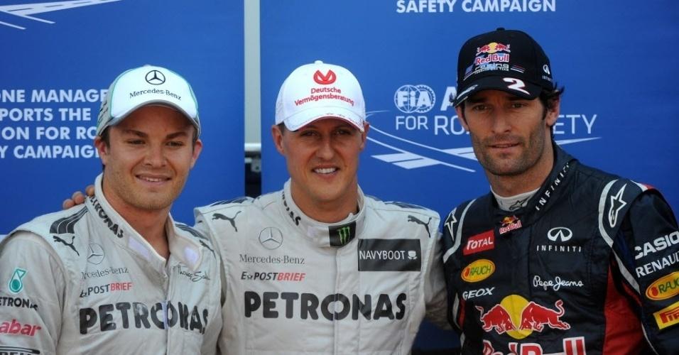Nico Rosberg (esq.), Michael Schumacher (c) e Mark Webber (dir.) foram os mais rápidos do treino classificatório para o GP de Mônaco. Webber herdou pole de Schumacher e largará na primeira posição