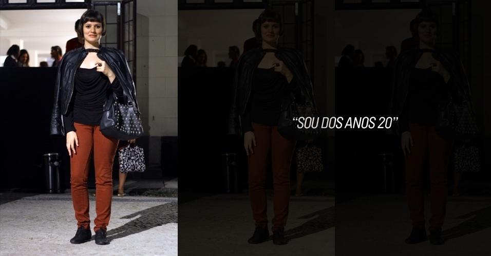 Elisa Cerallo, 18, estuda design de moda. Ela veste jaqueta e blusa Zara, calça Renner e sapato comprado em um brechó em Londres (26/05/2012)