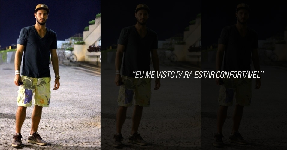 Leonardo Lima, 30, modelo, veste camiseta American Apparel, shorts Betony, tênis Puma e boné Wesc (26/05/2012)