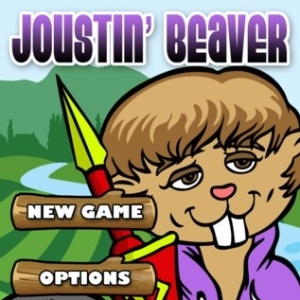 Tela de abertura do aplicativo Joustin? Beaver, que faz uma piada com o cantor Justin Bieber