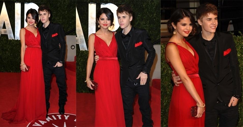 Um vestido esvoaçante Dolce & Gabbana foi o escolhido por Selena Gomez para acompanhar o namorado Justin Bieber na festa pós Oscar da revista