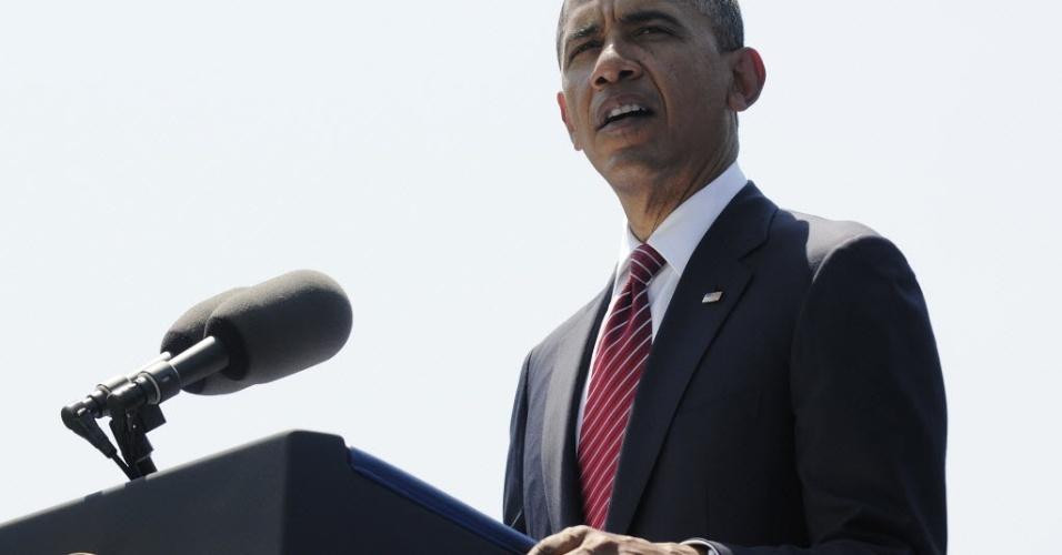 28.mai.2012 - Presidente norte-americano, Barack Obama, faz discurso durante 50º aniversário da Guerra do Vietnã, no Memorial dos Veteranos do Vietnã, em Washington (EUA)
