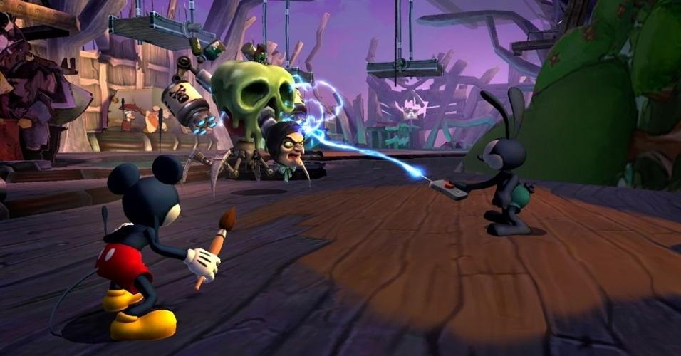 """Com jogatina cooperativa, """"Epic Mickey 2"""" mostra o ratinho em nova aventura com seu irmão mais velho, o coelho Osvaldo"""