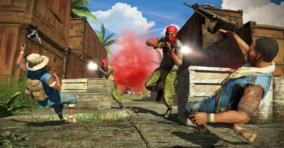 """""""Far Cry 3"""" retoma uma ilha tropical como cenário para mostrar bandidos muito loucos - literalmente!"""