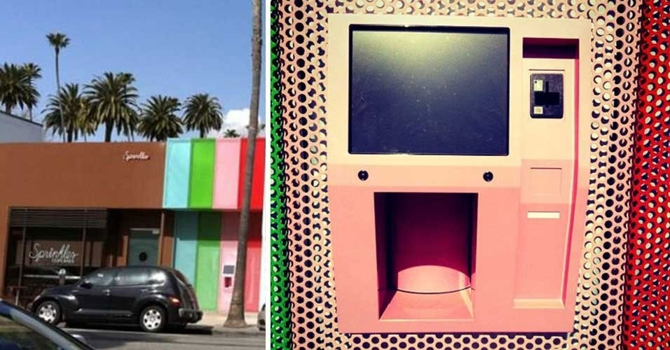 15.mar.2012 - A doceria Sprinkles Beverly Hills criou uma espécie de caixa eletrônico que, em vez de dinheiro, oferecerá cupcakes aos usuários -- 24 horas por dia, sete dias por semana. A novidade, segundo o site ''Huffington Post'', entrará em funcionamento ainda neste ano, além de outro ''caixa eletrônico'' onde os glutões poderão comprar sorvetes a qualquer hora. Na foto acima, cedida pela empresa ao ''Huffington Post'', a máquina de cupcakes aparece ao lado da doceria, em Los Angeles. A data exata de lançamento da iniciativa não foi divulgada