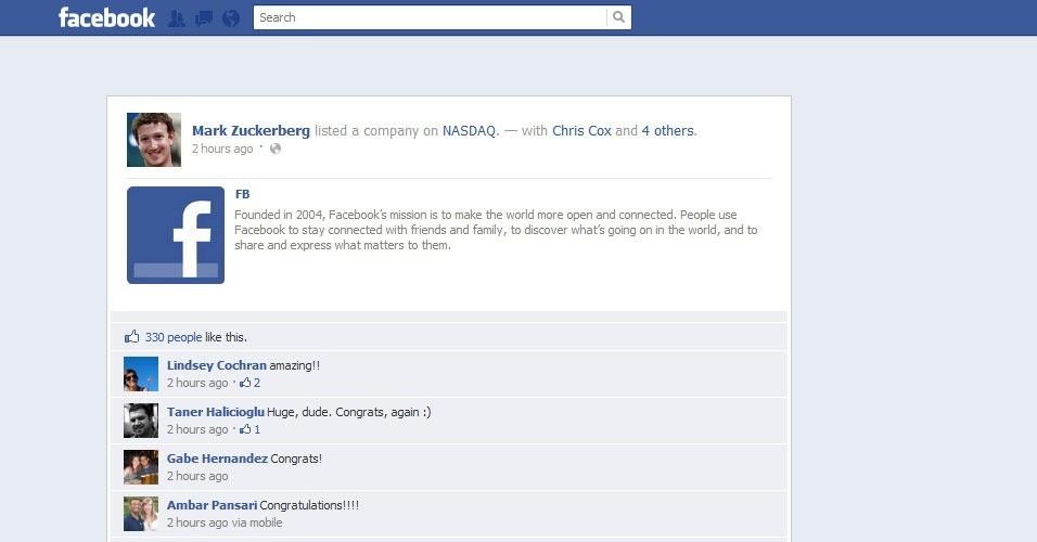 18.maio.2012 - Status: Mark Zuckerberg listou uma companhia na Nasdaq. A mensagem publicada no perfil do CEO do Facebook marca a entrada da rede social, criada em 2004, na Bolsa