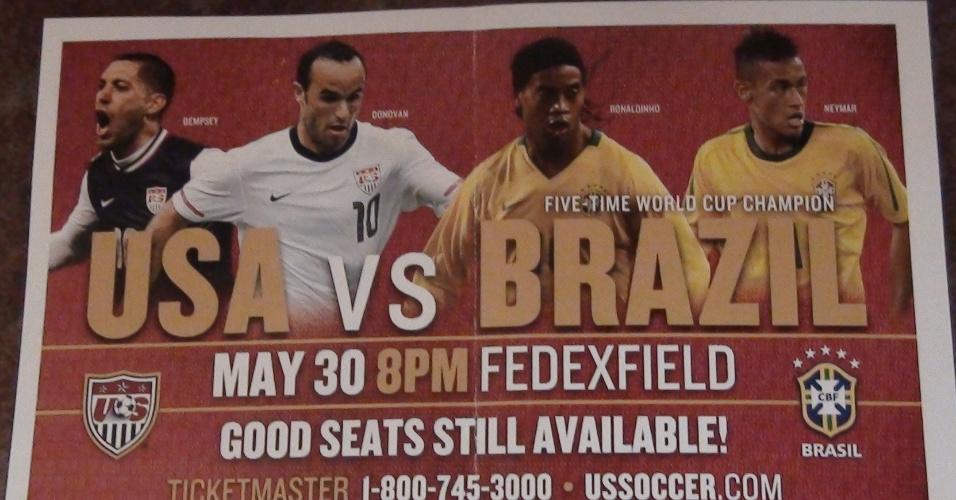 Promoção do jogo feita por norte-americanos erra ao relacionar Ronaldinho para a partida contra os EUA