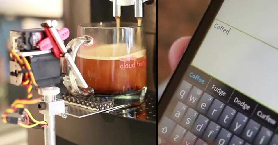 Como providenciar um café expresso (e bem rápido) quando você está no trabalho? A Zipwhip criou um sistema que funciona para smartphones Android e prepara a bebida quando você envia uma mensagem de texto ''pela nuvem''. Um robozinho recebe a ordem e vai preparando o café para você -- ele até reconhece, pelos últimos números do seu celular, qual é a sua xícara. Infelizmente, a empresa não tem planos de criar a Textspresso comercialmente. Que pena!