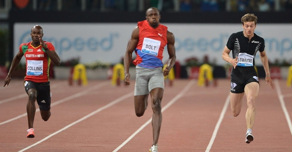 Bolt (centro) corre para vencer etapa de Roma da Liga Diamante com 9s76