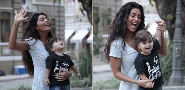 Juliana Paes recebe a visita do filho Pedro, de um ano e meio, no Projac (31/5/2012)