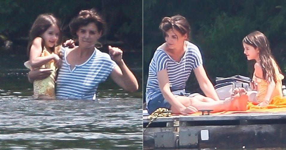 Katie Holmes leva Suri para nadar em lago (29/5/12)