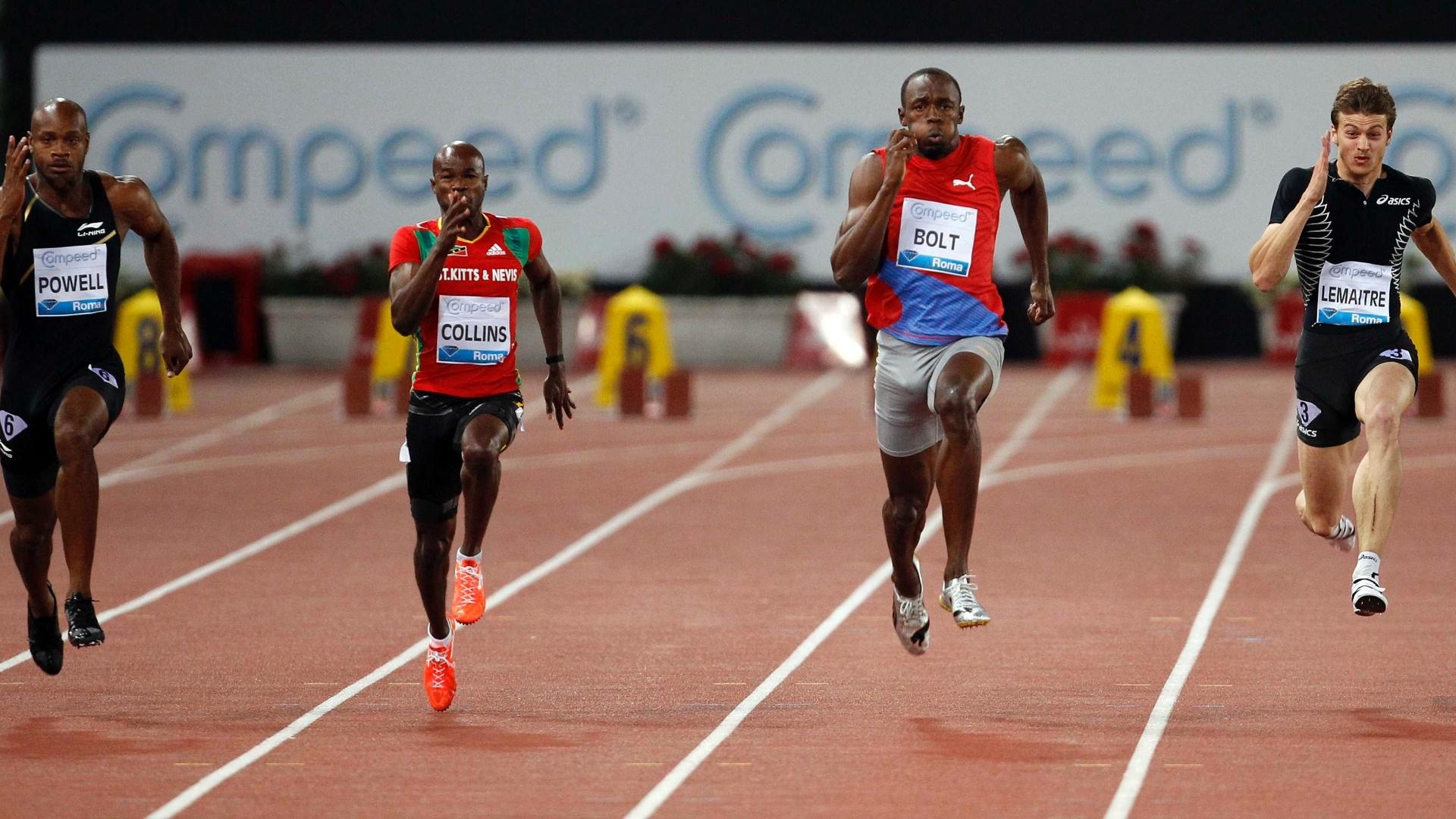 Para vencer os 100 m, Bolt deixou para trás o também jamaicano Asafa Powell (e) e o francês Christophe Lemaitre (d) (31/05/2012)