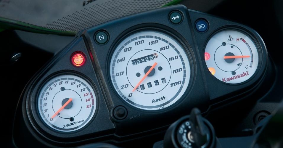 Ultrapassado, o painel da Kawasaki não combina com a moto e lembra o das esportivas do início dos anos 90