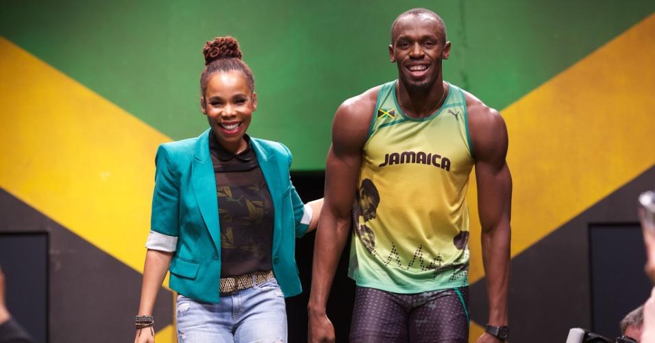 A estilista Cedella Marley (filha de Bob Marley) e o atleta Usain Bolt apresentam linha de uniformes da Jamaica para as Olimpíadas 2012, em Londres (1º/06/2012)