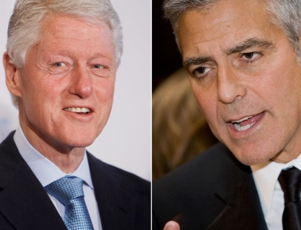 Montagem com o ex-presidente Bill Clinton e o ator George Clooney