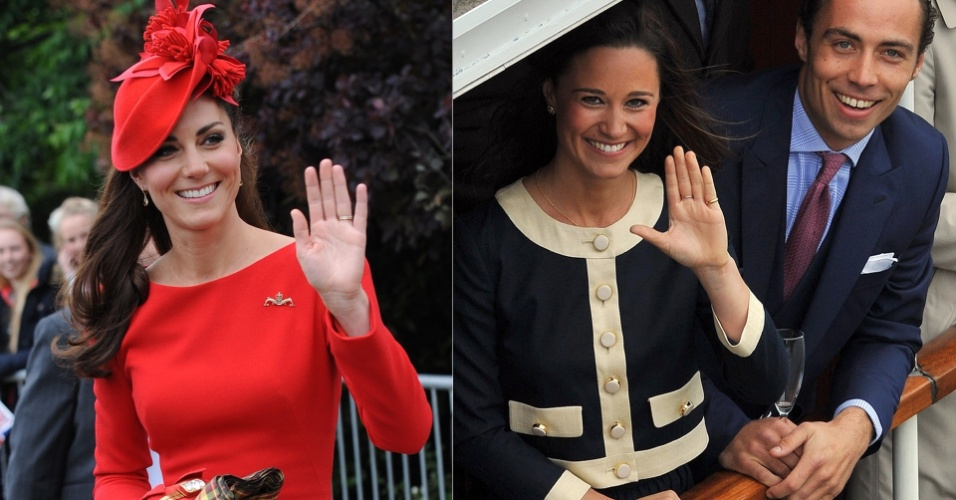A duquesa de Cambridge, Kate Middleton, escolheu uma roupa vermelha neste domingo (3) para participar das comemora&#231;&#245;es do jubileu de diamante da rainha Elizabeth 2&#170;, em Londres; j&#225; sua irm&#227;, Pippa (&#224; dir.), apareceu na festa com um visual mais discreto, ao lado de seu irm&#227;o, James
