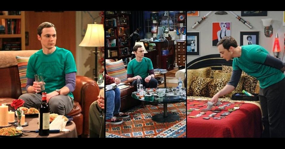 """Camisetas """"geek"""" com estampas de super heróis como a do The Flash (imagem anterior) e Lanterna Verde integram o visual do personagem. Sempre com o mesmo tênis, relógio e bolsa, Sheldon Cooper costuma variar a combinação das camisetas coloridas"""