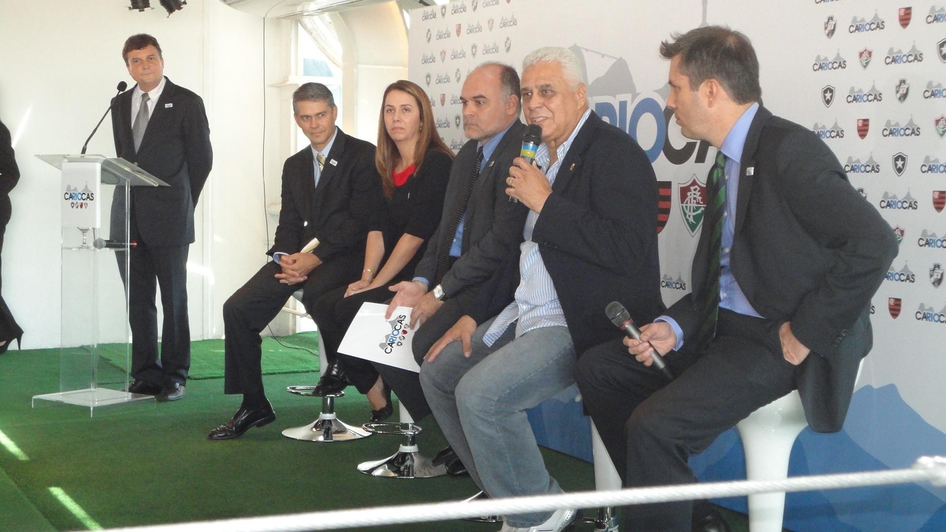 Maurício Assumpção, Patricia Amorim, Peter Siemsen e Roberto Dinamite em coletiva no Rio (04/06/2012)