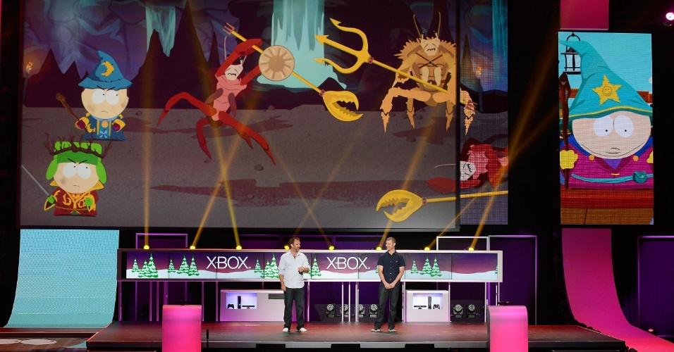 Os criadores de South Park Trey Parker e Mark Stone tomaram o palco para mostrar um pouco do novo jogo da franquia