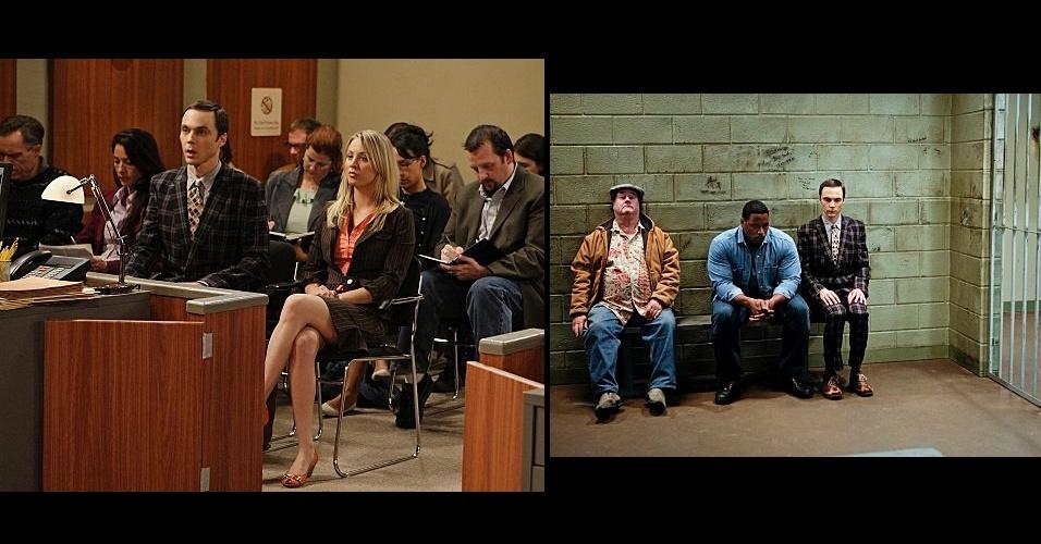 Os looks mais formais de Sheldon são engraçados. O personagem costuma usar blazer e calça xadrez, com camiseta listrada e gravata também estampada. A mistura de desenhos reforça sua personalidade nerd
