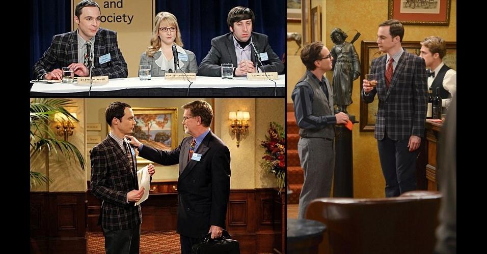 Sem abrir mão do blazer xadrez, em alguns momentos Sheldon aparece mais discreto, combinando as estampas da parte superior do look, com calças lisas em tons neutros