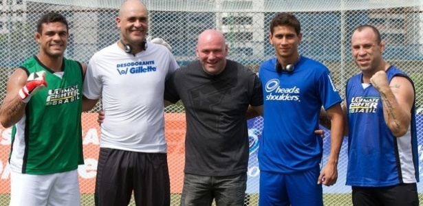 Vitor Belfort, Marcos, Dana White, Ganso e Wanderlei Silva no TUF Brasil