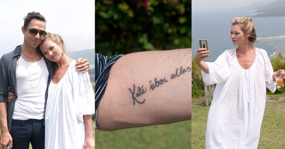 A topmodel Kate Moss e o marido, o guitarrista da banda The Kills, James Hince posam para o fotógrafo Terry Richardson em férias na Jamaica (5/6/12). Hince mostra a tatuagem que adaptou para a mulher e Kate tira fotos de si mesma no celular. O casamento aconteceu em julho de 2011, na Inglaterra