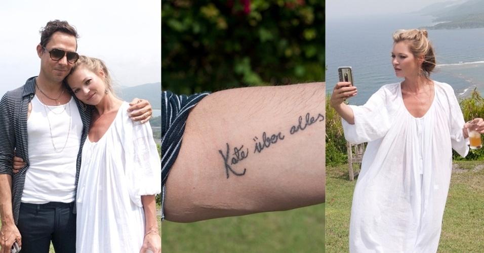 A topmodel Kate Moss e o marido, o guitarrista da banda The Kills, James Hince posam para o fotógrafo Terry Richardson em férias na Jamaica (5/6/12). Hince mostra a tatuagem que adaptou para a mulher e Kate tira fotos de si mesma no celular. O casamento aconteceu em julho de 2011, na Inglaterra