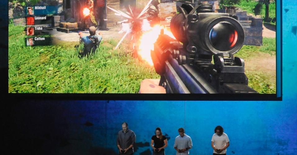 Jogadores demonstram a campanha cooperativa para quatro jogadores de