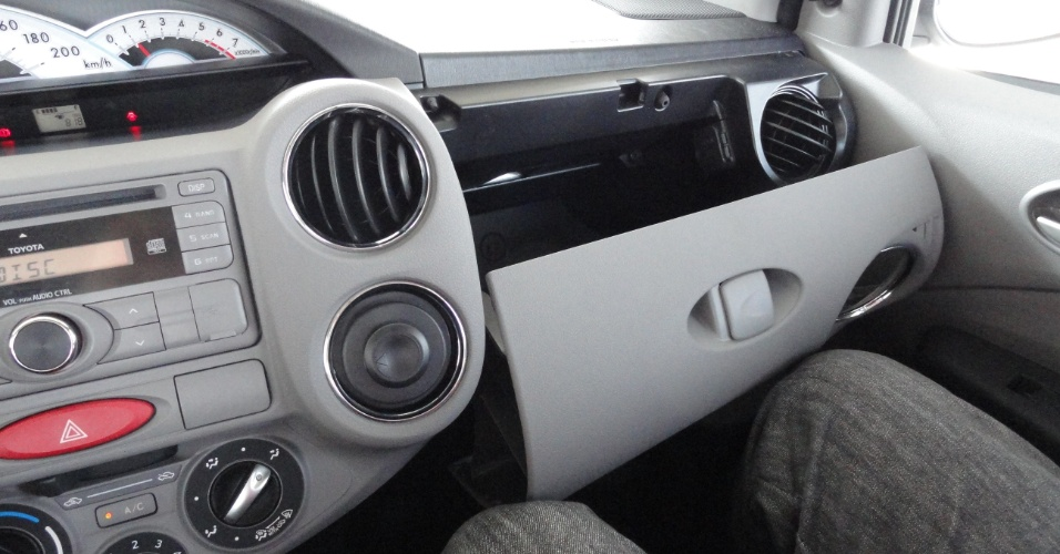 A tampa do porta-luvas, grande demais, encosta nas pernas do passageiro e dificulta acesso ao compartimento