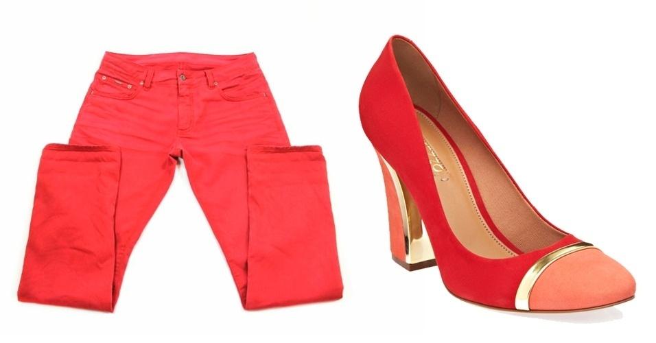 Calça colorida masculina; R$ 320, na Sergio K (Tel.: 11 3083-1789). Sapato feminino; R$ 199,90 na Arezzo (Tel.: 51 2129-5381)