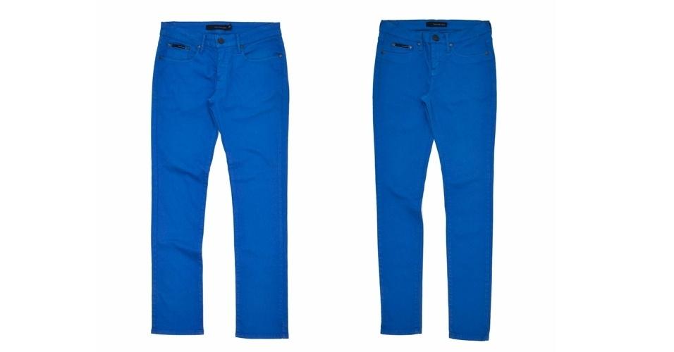 Calça de sarja azul masculina e feminina; R$ 269 e R$ 289 respectivamente, na Calvin Klein Jeans (Tel.: 11 3817-5704)