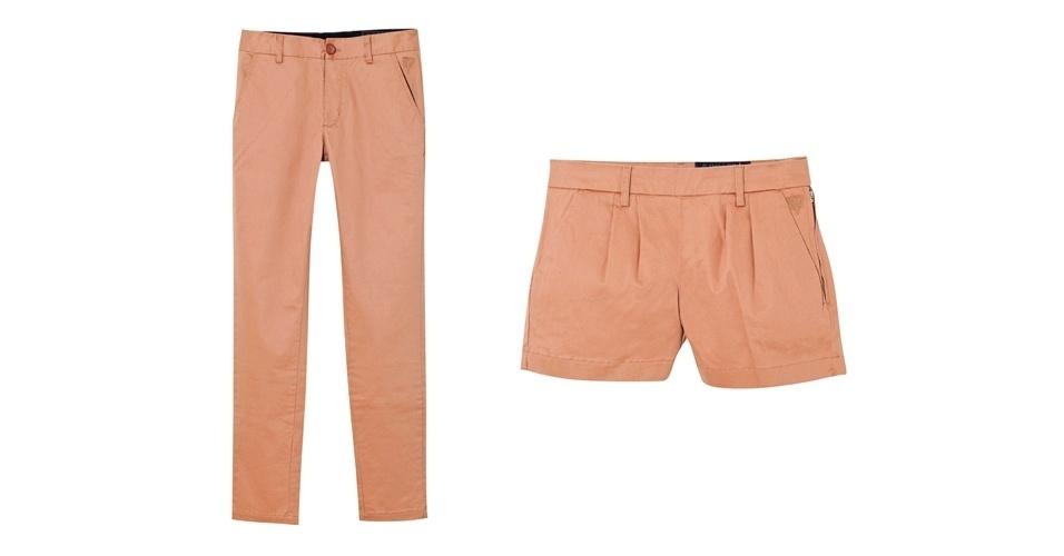 Calça masculina e shorts feminino; R$ 446 e R$ 319 respectivamente, na Cavalera (Tel.: 11 3083-5187)