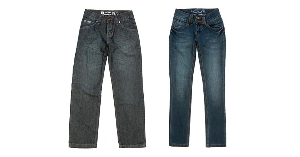 Calças jeans masculina e feminina; R$ 79,90 cada, na Opção (Tel.: 21 2249-2966)