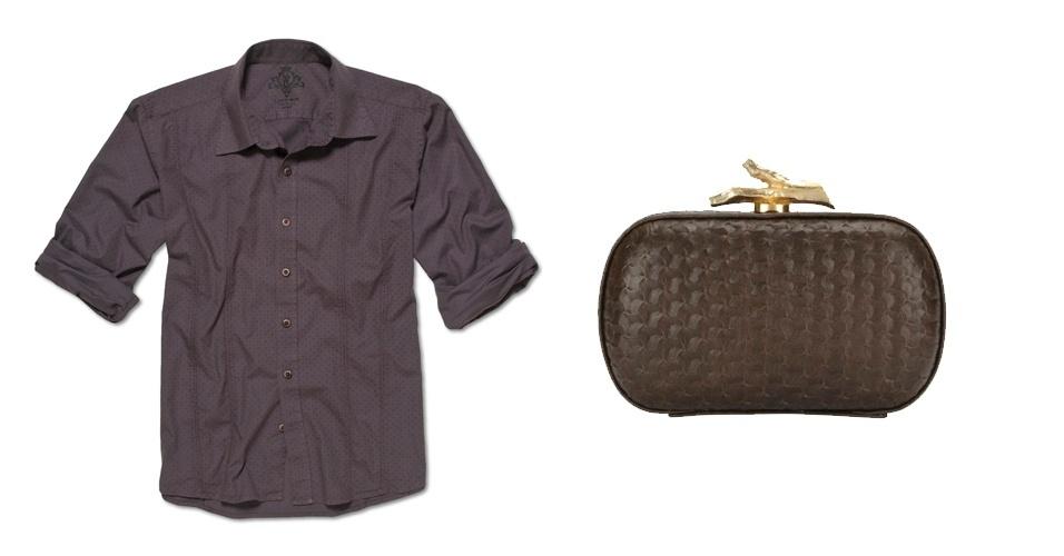 Camisa masculina marrom; R$ 99, na Upper (Tel.: 11 3522-7243). Clutch marrom; R$ 1.400, na Diane Von Furtenberg (Tel.: 11 3034-4720)
