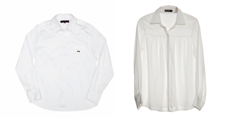 Camisas brancas masculina e feminina; R$ 179 e R$ 239, respectivamente, na 284 (Tel.: 11 3081-3633)