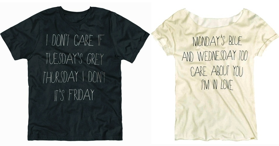 Camisetas masculina e feminina com frases que completam; R$ 59,90 cada, na Dzarm (SAC: 0800 473 113)