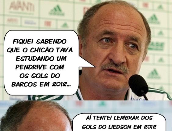 Corneta FC: Felipão tenta estudar gols de Liedson em 2012, mas não encontra nenhum