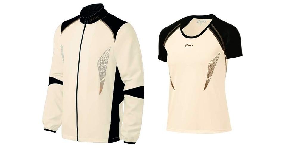 Jaqueta masculina e camiseta feminina; R$ 299,90 e R$ 169,90 respectivamente, na Asics (SAC: 0800 722 7427)