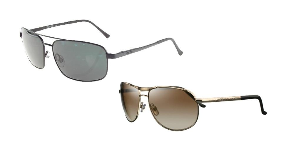 Óculos masculino Platini e feminino Benetton; R$ 282 e R$ 333, na Ótica Iris (www.oticasiris.com.br)