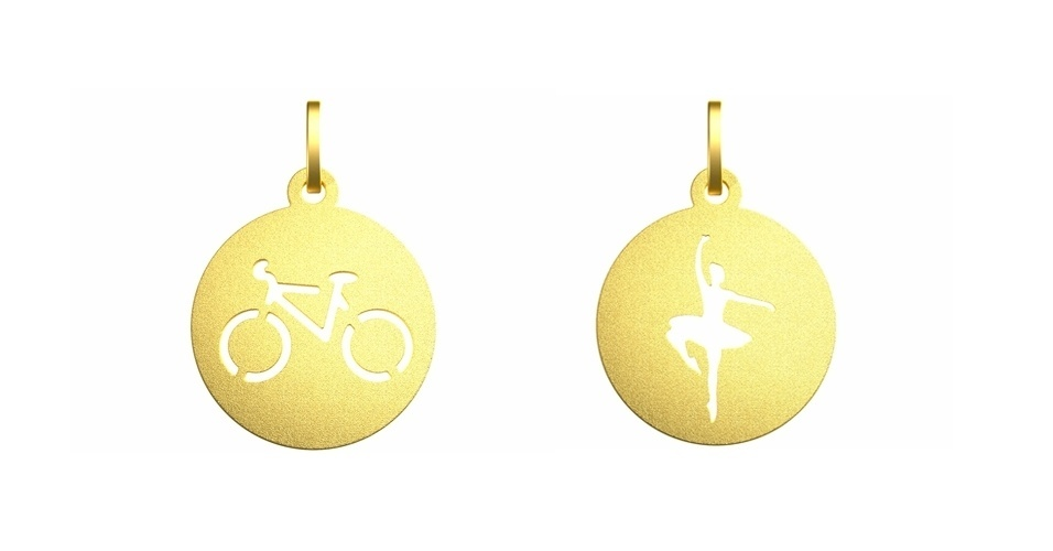 Pingentes de ouro masculino e feminino; R$ 200 cada, na Vanessa Robert (Tel.: 21 2529-2128)