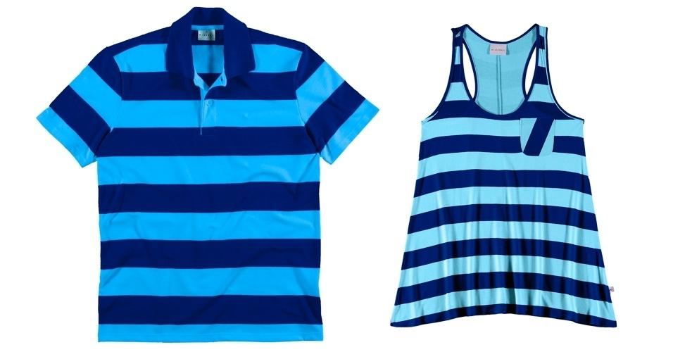 Pólo masculina e regata feminina com listras largas azuis da Marisol; R$ 49,90 e R$ 39,90, respectivamente, na One Store Marisol (SAC: 0800 888 2600)